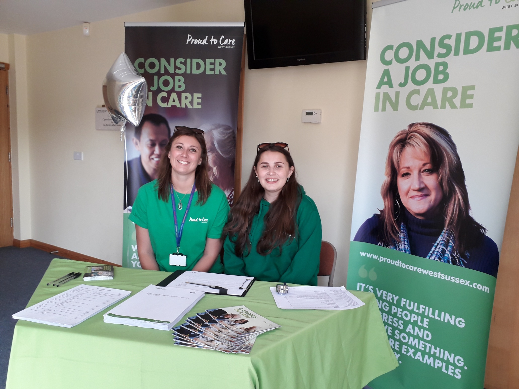 Proud to care team at a local care recruitment event
